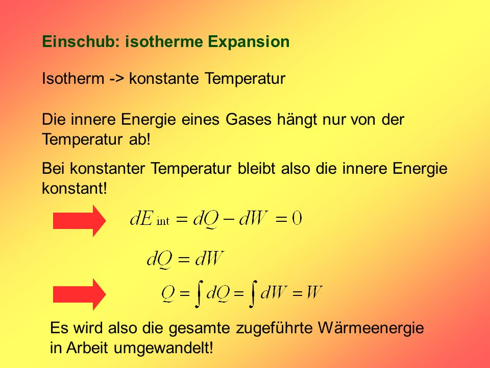 Einschub: isotherme Expansion