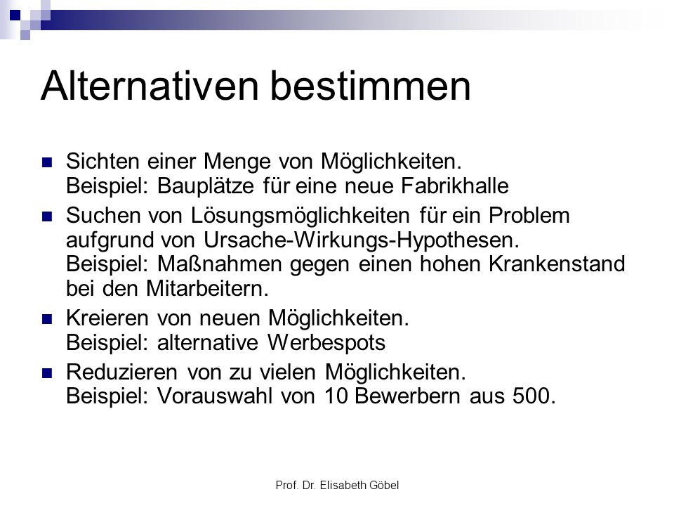 Alternativen bestimmen