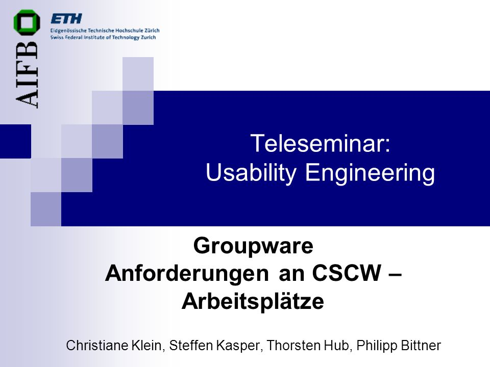 Teleseminar: Usability Engineering