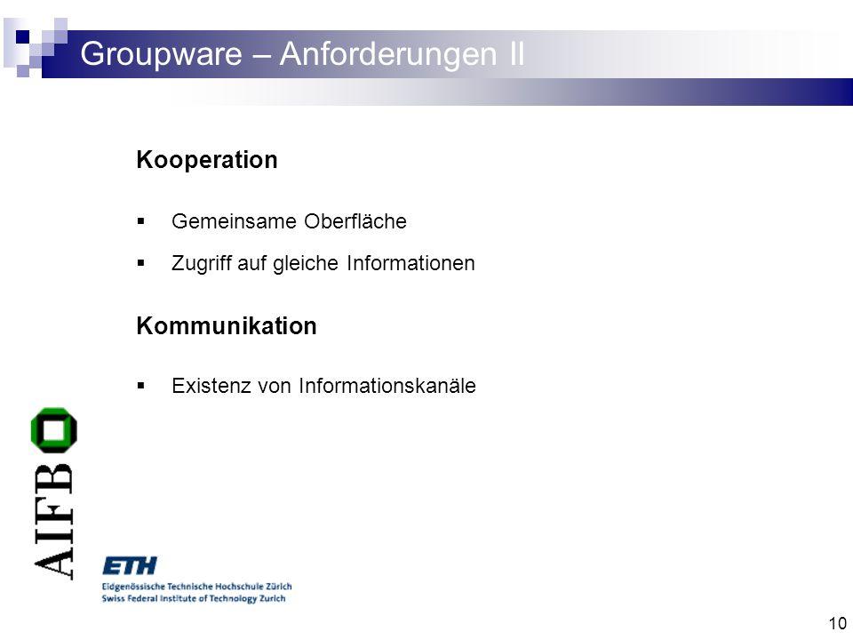 Groupware – Anforderungen II