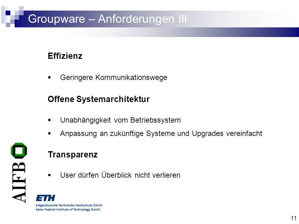 Groupware – Anforderungen III