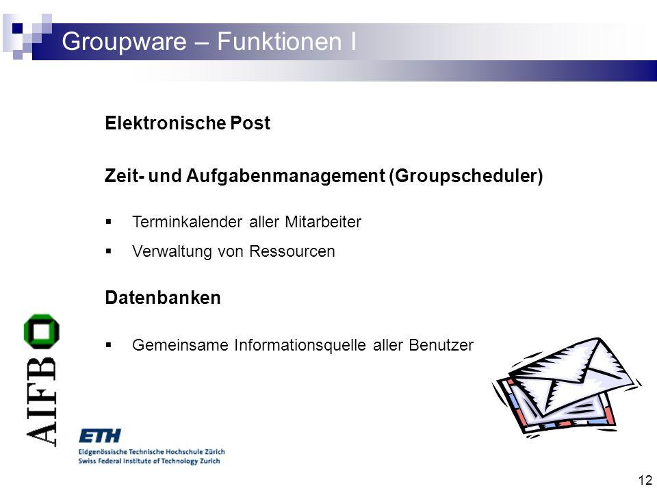 Groupware – Funktionen I