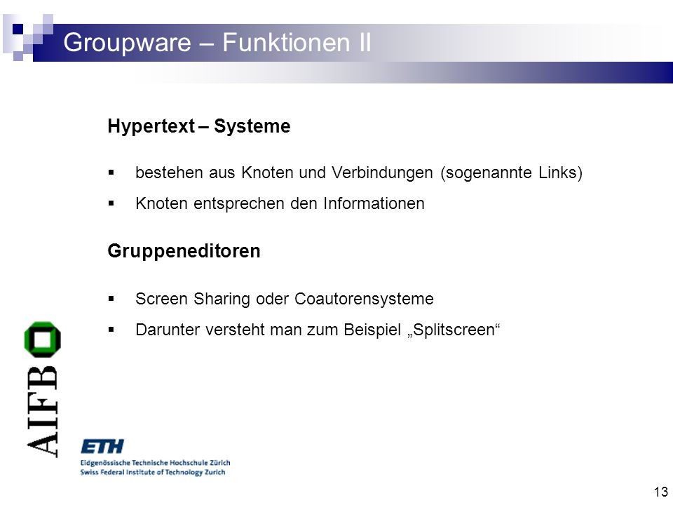 Groupware – Funktionen II