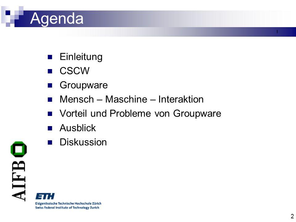 Agenda Einleitung CSCW Groupware Mensch – Maschine – Interaktion