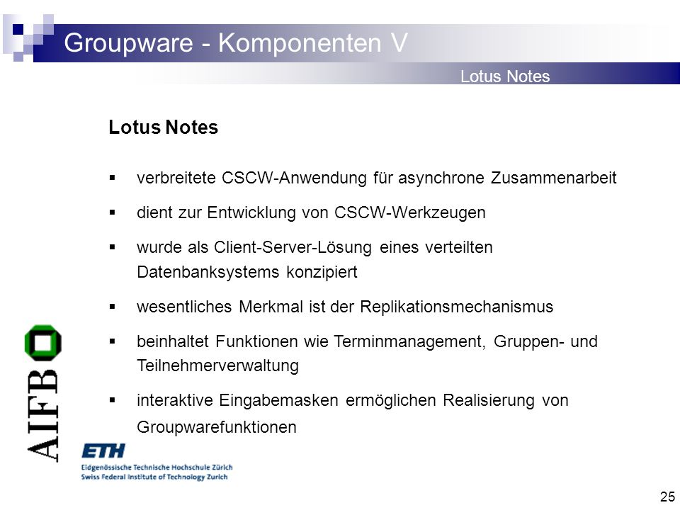 Groupware - Komponenten V