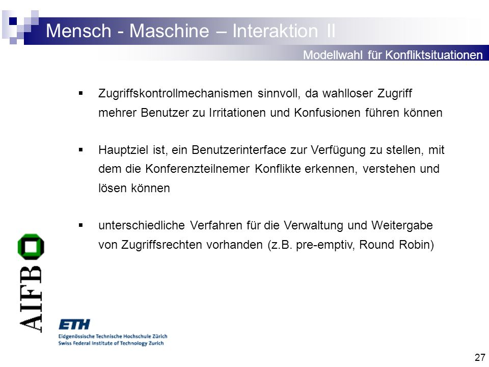 Mensch - Maschine – Interaktion II