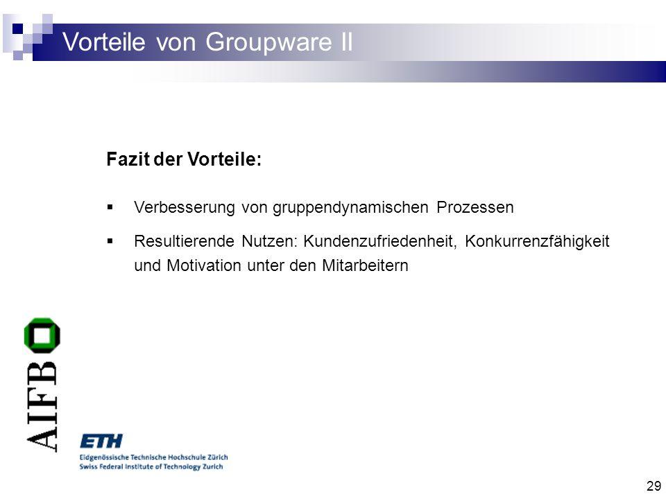 Vorteile von Groupware II