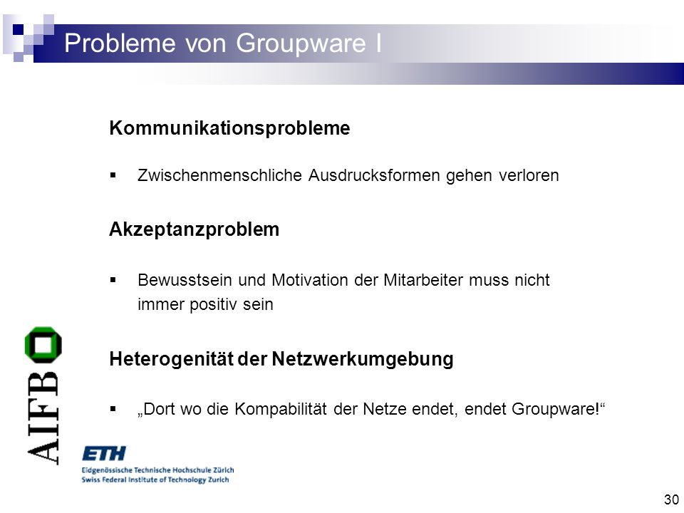 Probleme von Groupware I