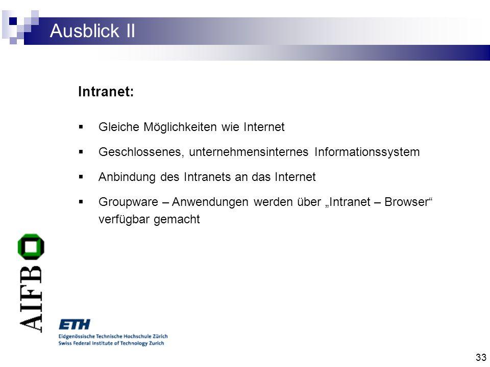 Ausblick II Intranet: Gleiche Möglichkeiten wie Internet