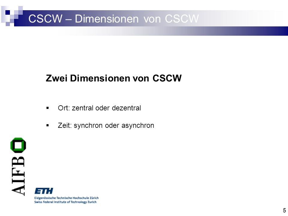 CSCW – Dimensionen von CSCW