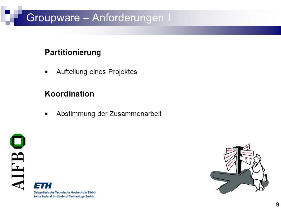 Groupware – Anforderungen I