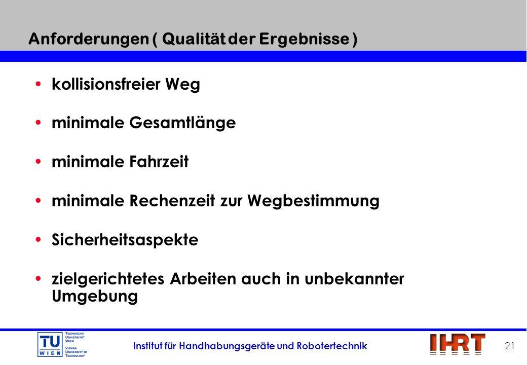 Anforderungen ( Qualität der Ergebnisse )