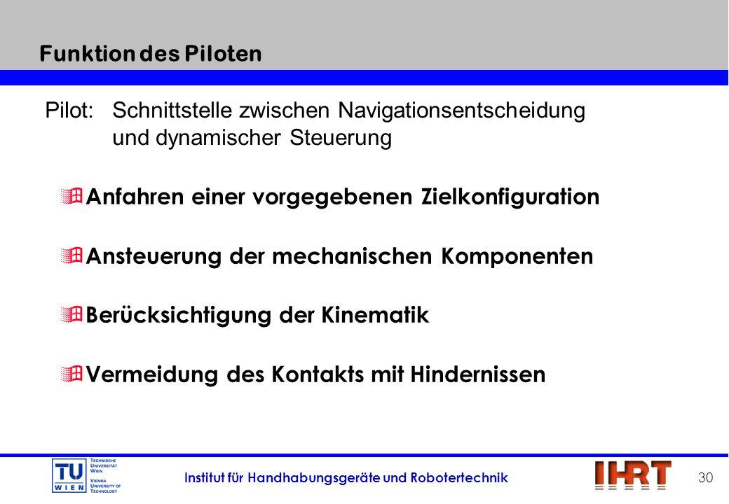 Funktion des Piloten Pilot: Schnittstelle zwischen Navigationsentscheidung. und dynamischer Steuerung.