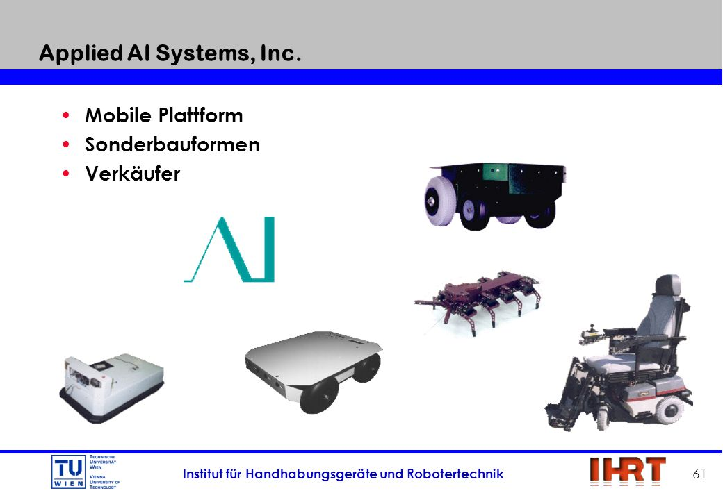 Applied AI Systems, Inc. Mobile Plattform Sonderbauformen Verkäufer