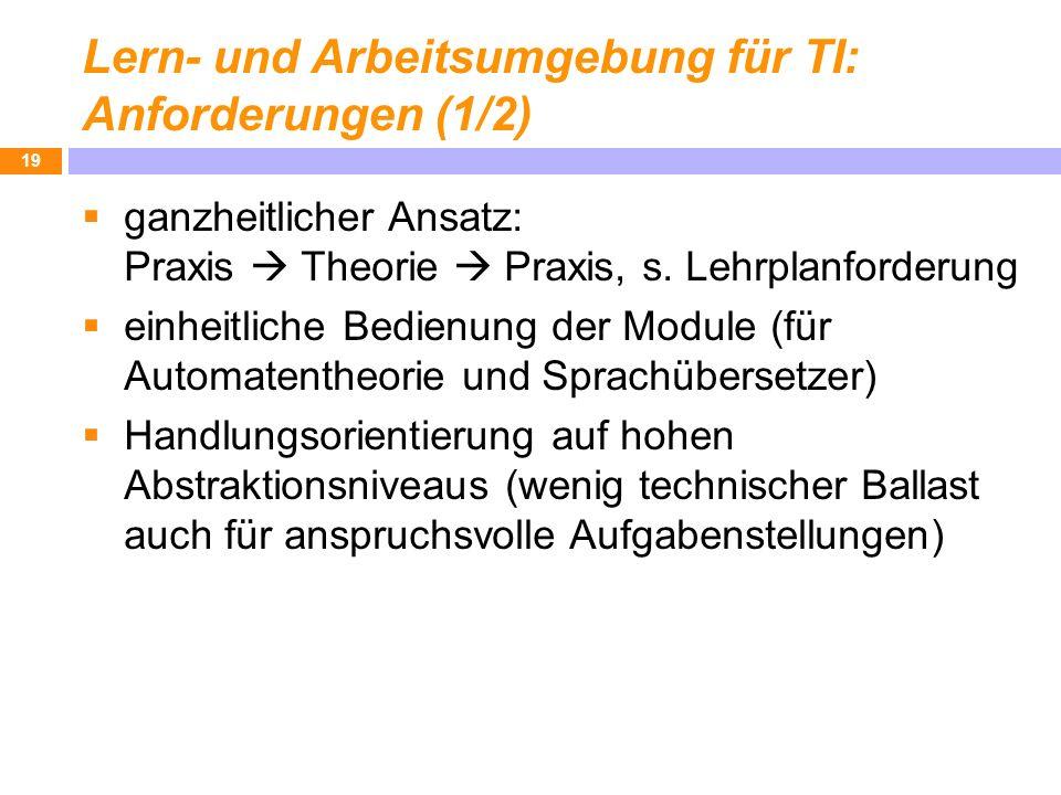 Lern- und Arbeitsumgebung für TI: Anforderungen (1/2)