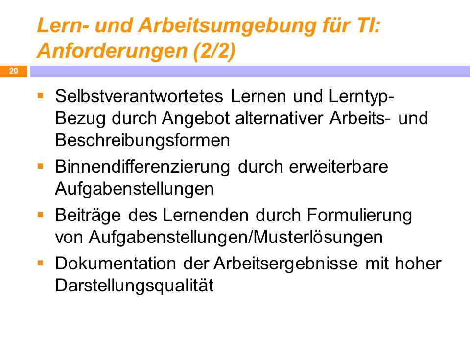 Lern- und Arbeitsumgebung für TI: Anforderungen (2/2)