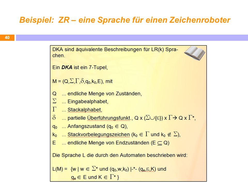 Beispiel: ZR – eine Sprache für einen Zeichenroboter