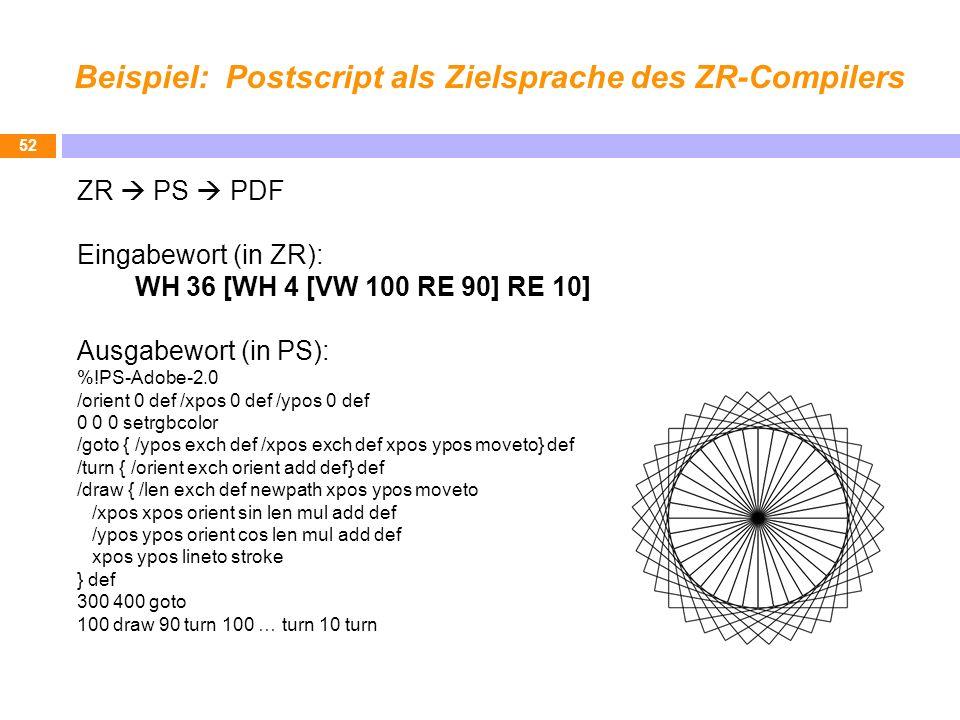 Beispiel: Postscript als Zielsprache des ZR-Compilers