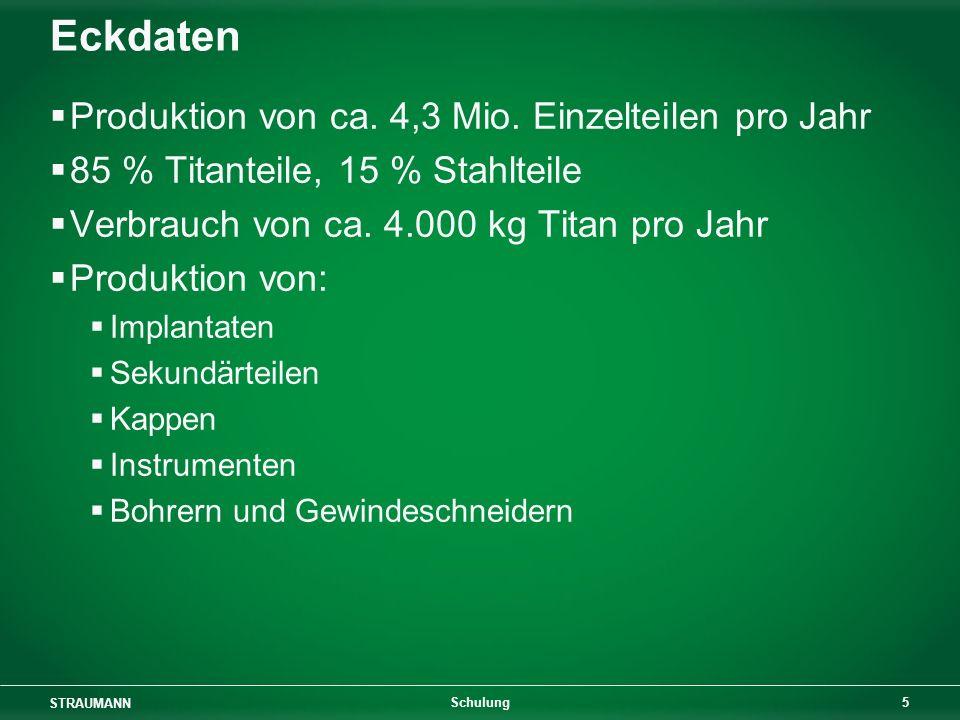 Eckdaten Produktion von ca. 4,3 Mio. Einzelteilen pro Jahr