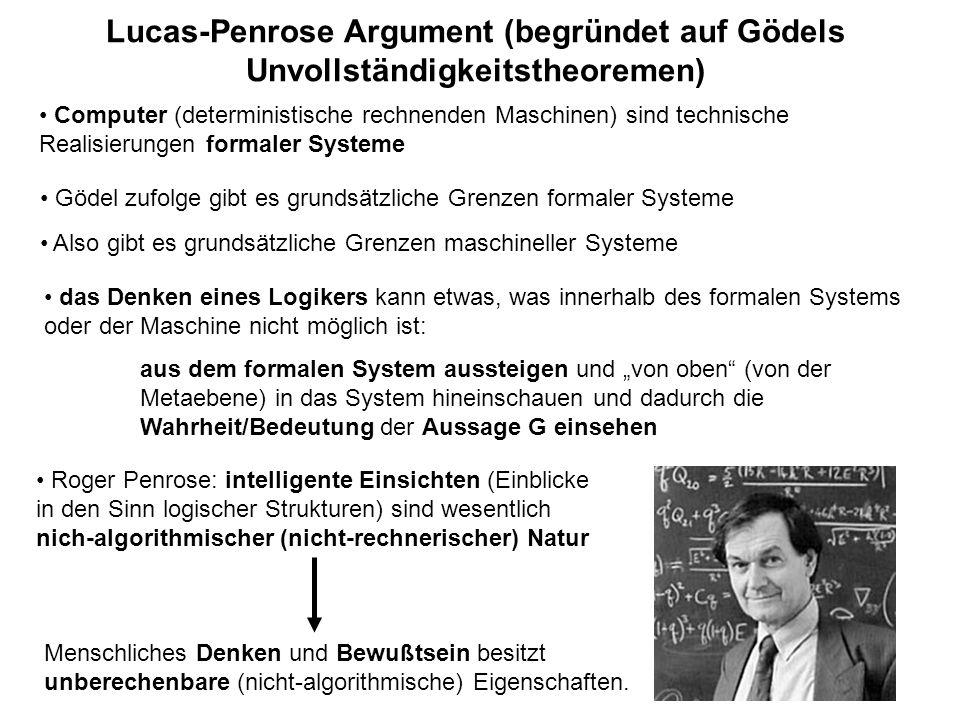 Lucas-Penrose Argument (begründet auf Gödels Unvollständigkeitstheoremen)