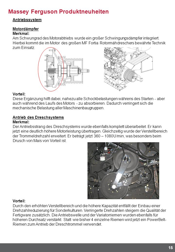 Antriebssystem Motordämpfer. Merkmal:
