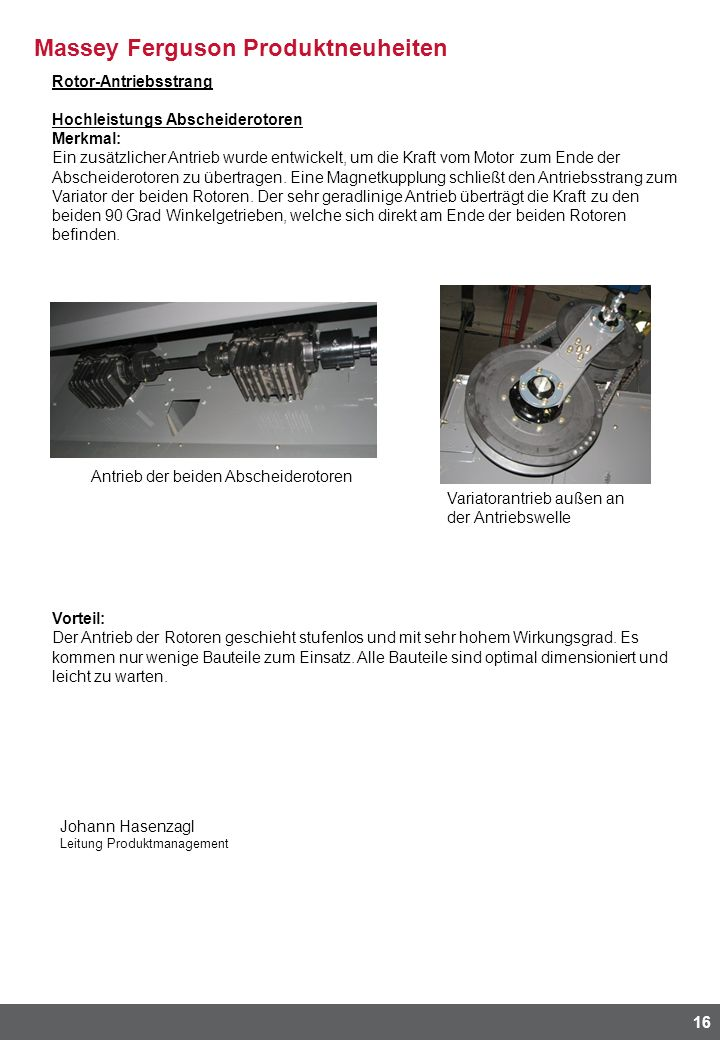 Rotor-Antriebsstrang Hochleistungs Abscheiderotoren Merkmal: