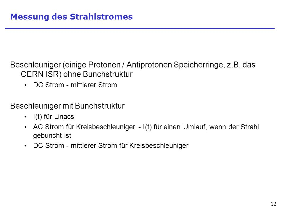 Messung des Strahlstromes