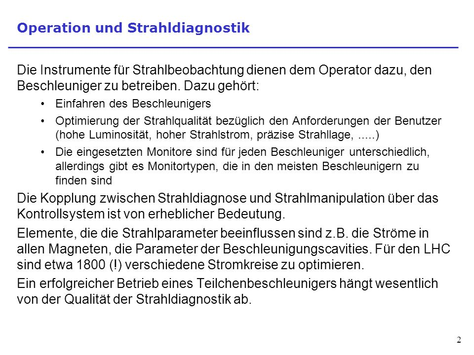 Operation und Strahldiagnostik
