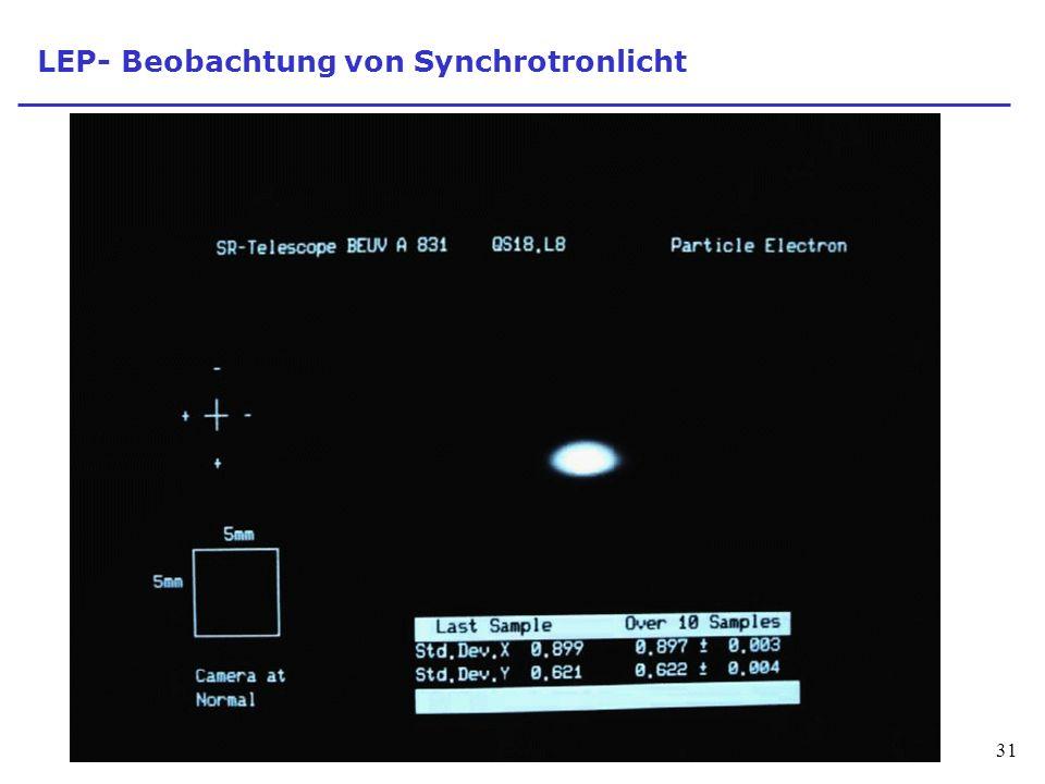 LEP- Beobachtung von Synchrotronlicht