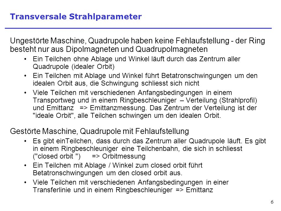 Transversale Strahlparameter