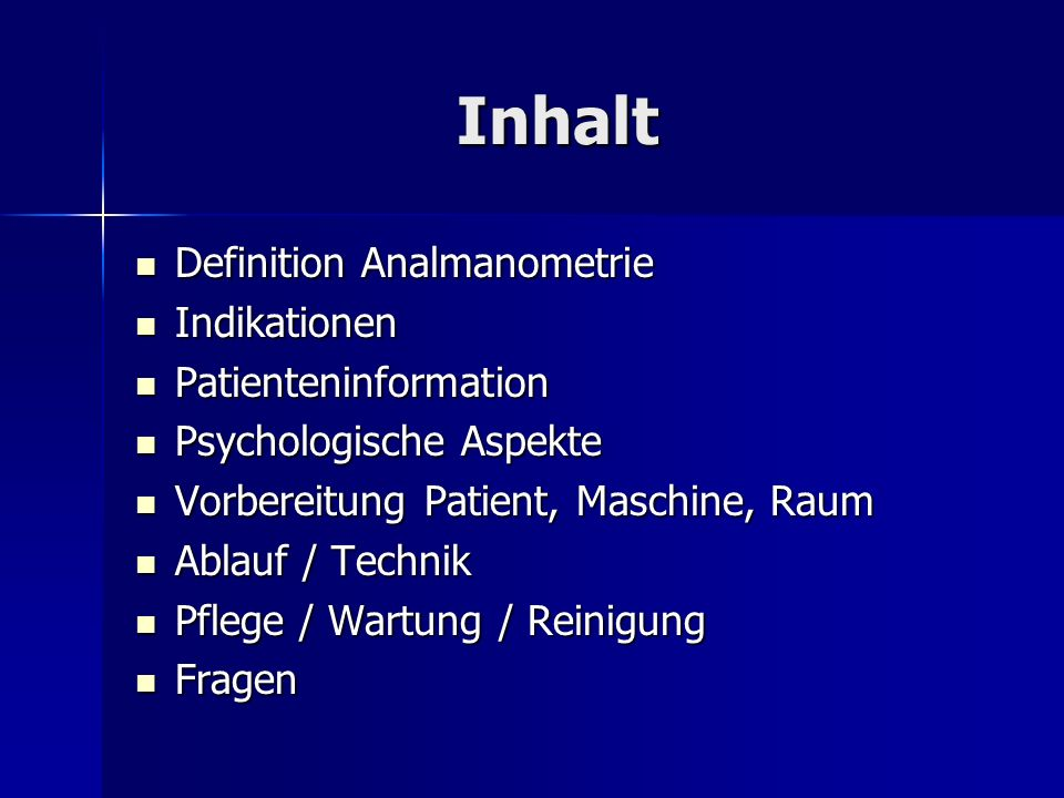 Inhalt Definition Analmanometrie Indikationen Patienteninformation