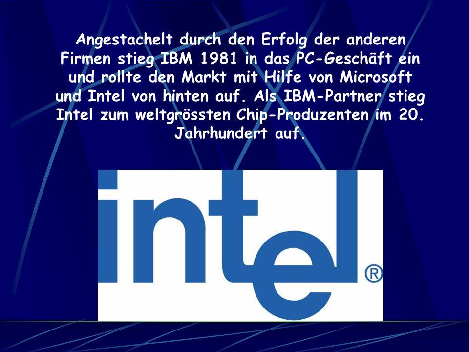 Angestachelt durch den Erfolg der anderen Firmen stieg IBM 1981 in das PC-Geschäft ein und rollte den Markt mit Hilfe von Microsoft und Intel von hinten auf.