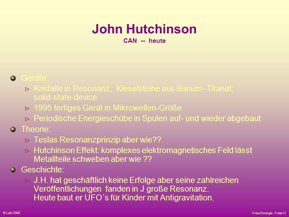John Hutchinson CAN -- heute