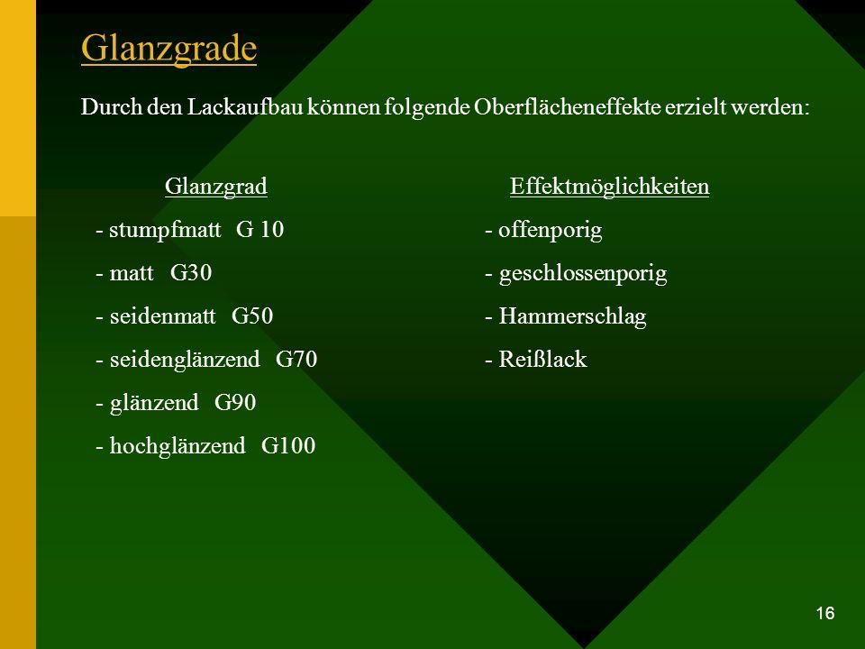 Glanzgrade Durch den Lackaufbau können folgende Oberflächeneffekte erzielt werden: Glanzgrad. - stumpfmatt G 10.
