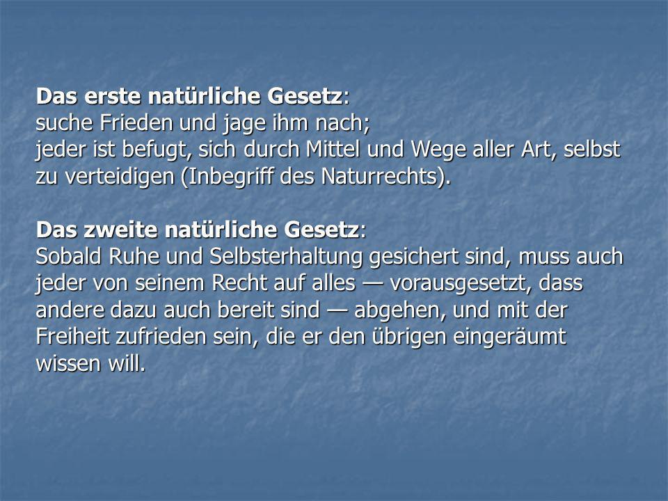 Das erste natürliche Gesetz: