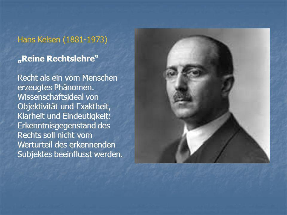 """Hans Kelsen (1881-1973)""""Reine Rechtslehre Recht als ein vom Menschen erzeugtes Phänomen. Wissenschaftsideal von Objektivität und Exaktheit,"""