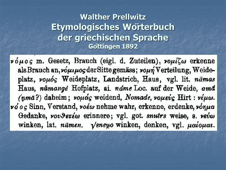 Walther Prellwitz Etymologisches Wörterbuch der griechischen Sprache Göttingen 1892