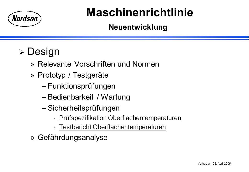 Design Neuentwicklung Relevante Vorschriften und Normen