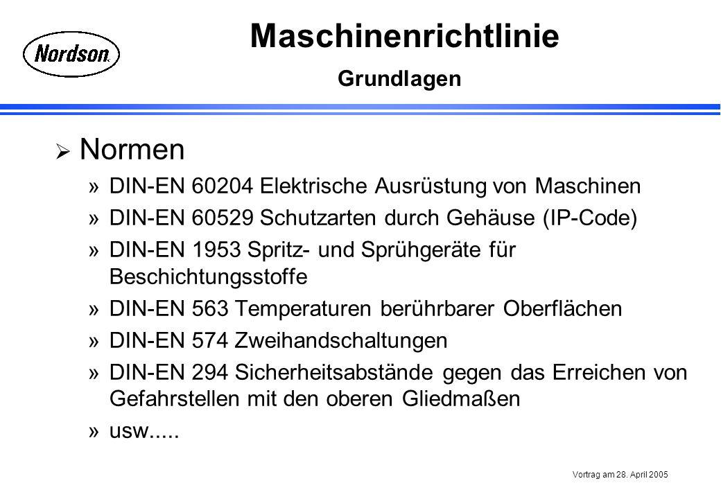 Normen Grundlagen DIN-EN 60204 Elektrische Ausrüstung von Maschinen