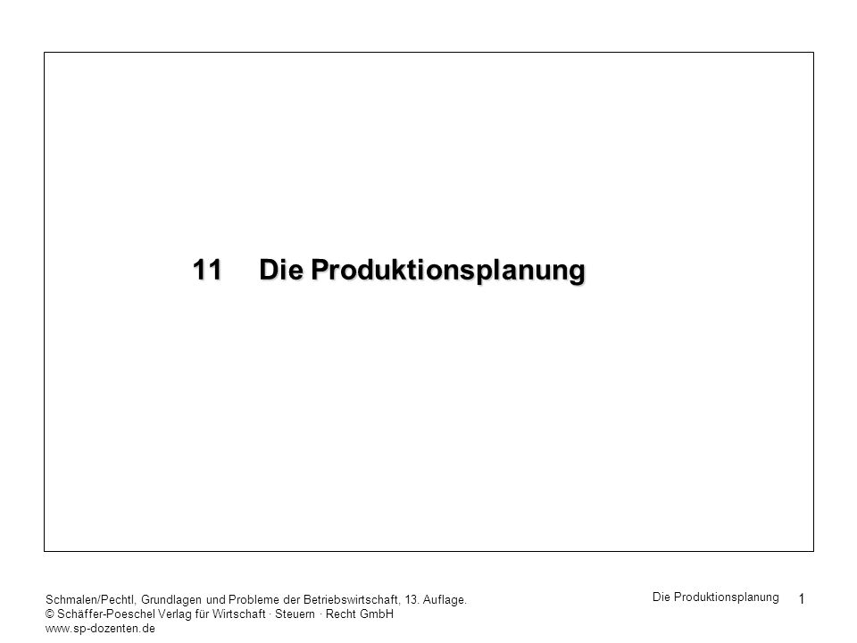 11 Die Produktionsplanung