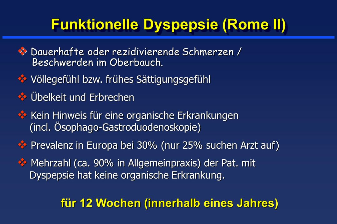Funktionelle Dyspepsie (Rome II)