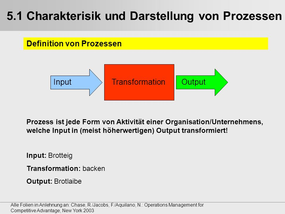 5.1 Charakterisik und Darstellung von Prozessen