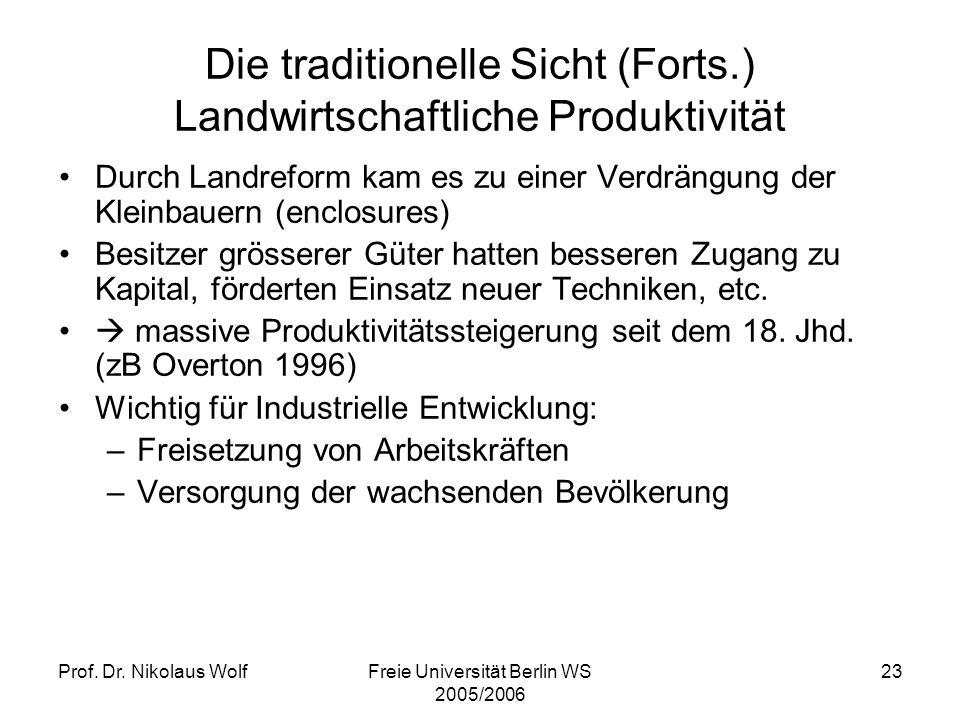 Die traditionelle Sicht (Forts.) Landwirtschaftliche Produktivität