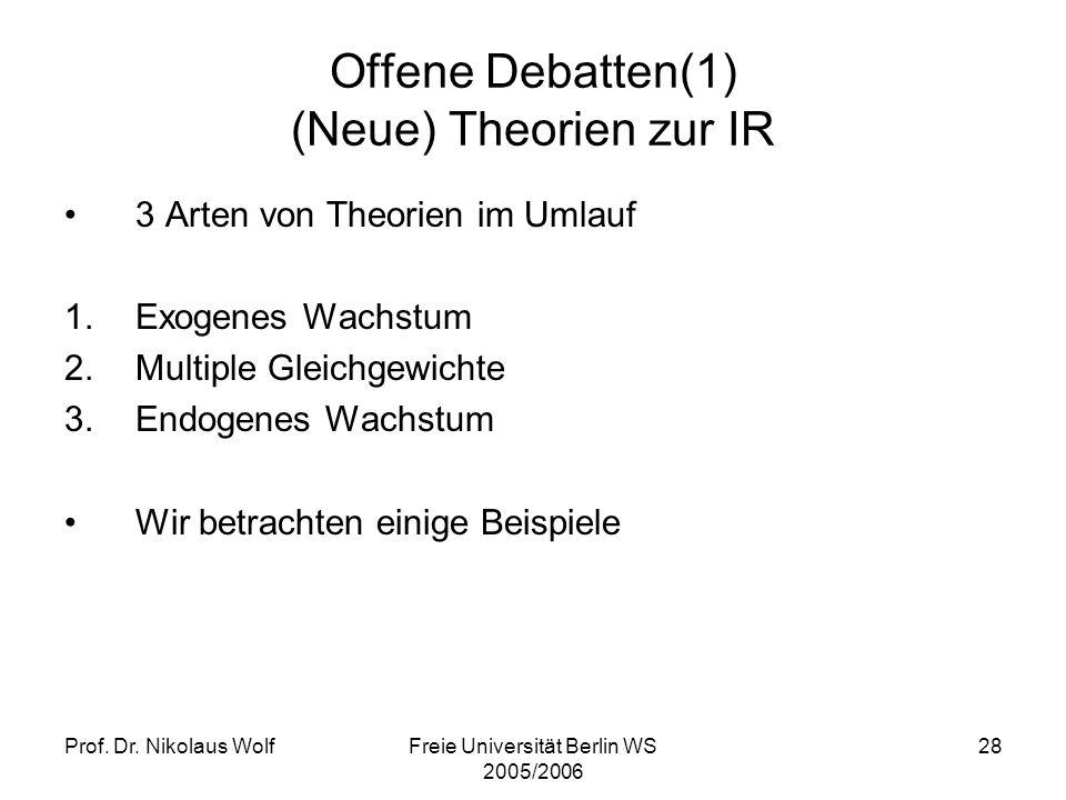 Offene Debatten(1) (Neue) Theorien zur IR