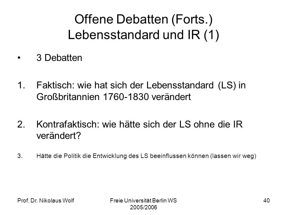 Offene Debatten (Forts.) Lebensstandard und IR (1)