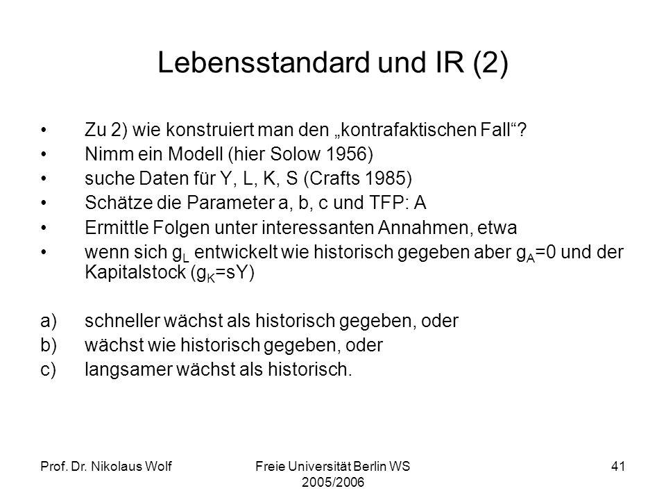 Lebensstandard und IR (2)