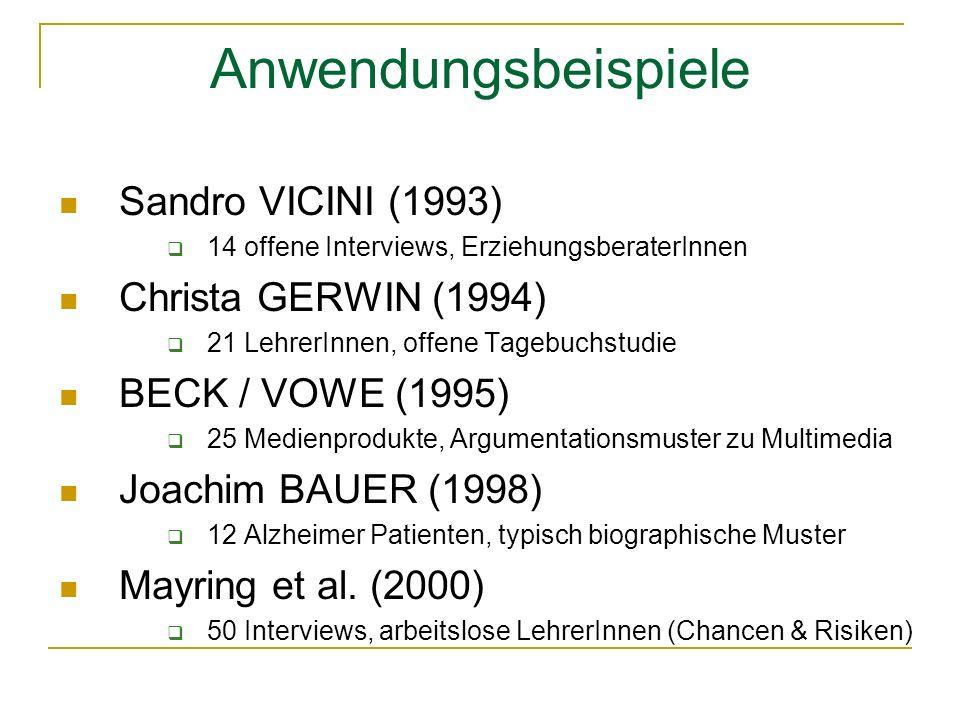 Anwendungsbeispiele Sandro VICINI (1993) Christa GERWIN (1994)