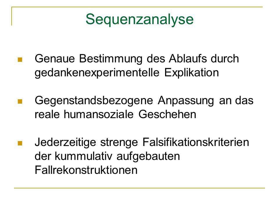 Sequenzanalyse Genaue Bestimmung des Ablaufs durch gedankenexperimentelle Explikation.