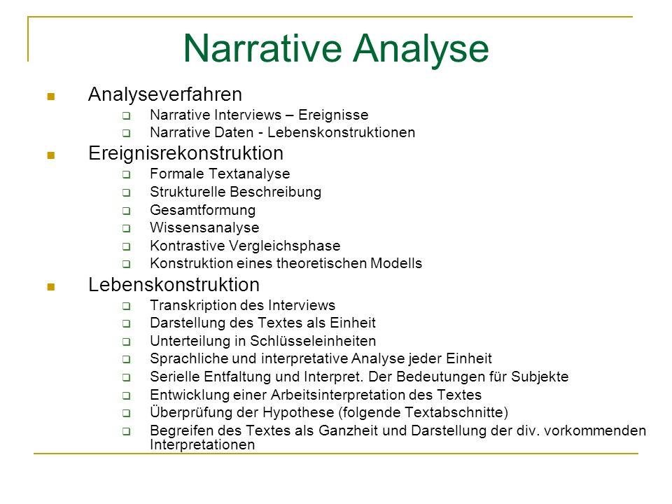Narrative Analyse Analyseverfahren Ereignisrekonstruktion