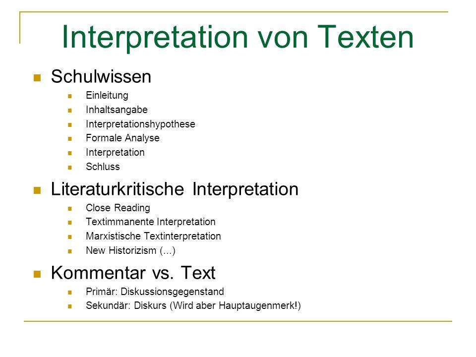Interpretation von Texten